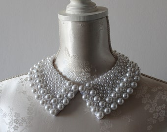 e4e9114127eb33 White collar necklace with pearls pointed shape detachable beaded collar  beads removeable accessories for women peter pan collar