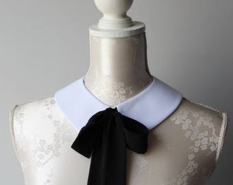 White collar necklace with black ribbon bow pointed shape detachable removeable accessories for women two-sided peter pan romantic classic
