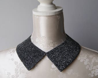Black collar necklace with silver glitter pointed shape detachable removeable accessories for women two-sided black necklace ribbon bow