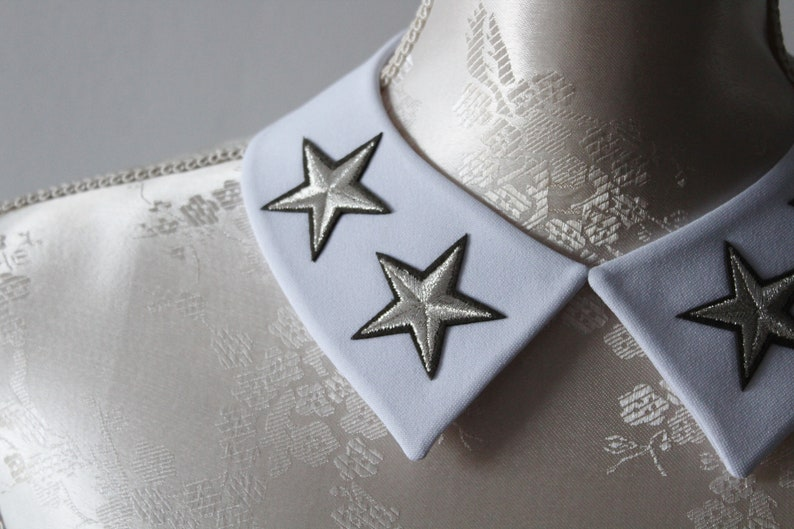 White collar necklace with embroidery patches silver stars detachable peter pan collar removeable accessories for women pointy modern