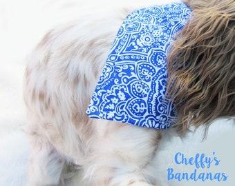 Blue and White Medallion Dog Collar Bandana
