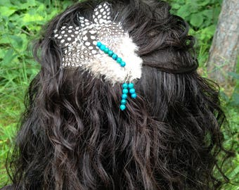 Feather Hair Clip / Bohemian Teal & Natural Spotted Feather Hair Accessory