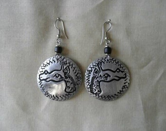 Aluminium Hammered and patterned Giraffe Earrings.