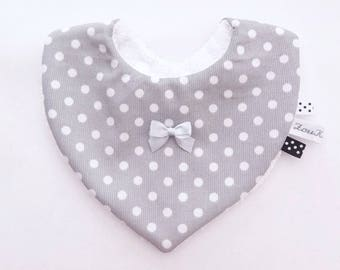 Baby bib grey with white polka dots cotton