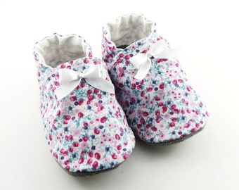 Baby top cotton, non-slip leather sole booties pink with flowers