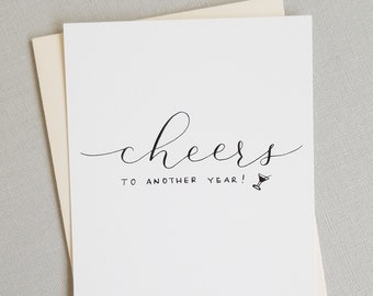 Cheers to Another Year | Anniversary Card | Handwritten Calligraphy | Love Note | Valentines Day Card