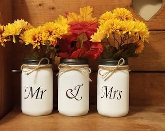Mr and Mrs mason jars