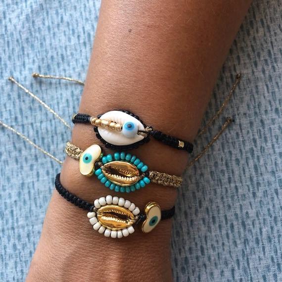Fashion KAURI SHELL charme corde bracelet Summer Surf Femmes Bijoux Wish Carte