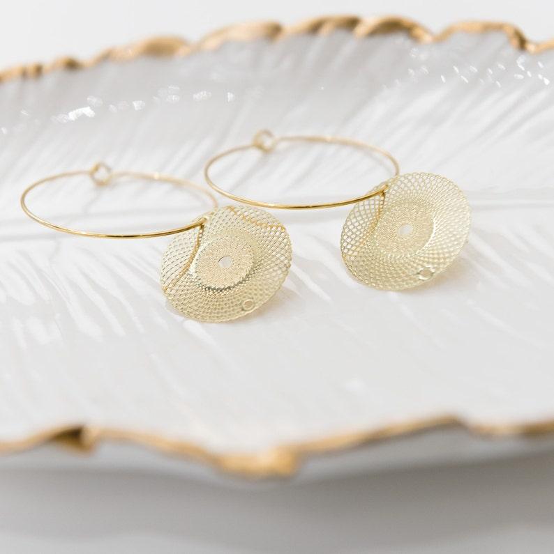 786d35f6539d4 Gold Filigree Earrings, Thin Gold Hoop Earrings, Boho Wedding Earrings,  Dainty Minimalist Earrings, Gold Disc Earrings, Boho Bridal Gift