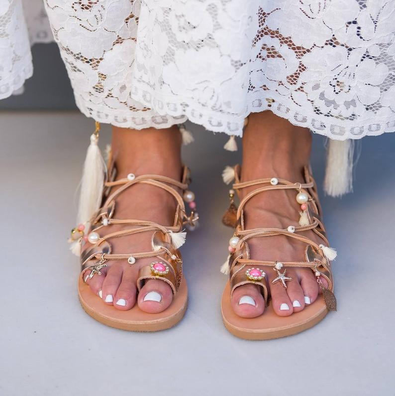 eb913c67fbc8 Rose Gold Wedding Sandals Bridal Tie Up Sandals Bridal