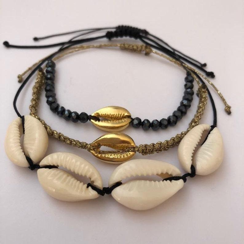 Cavigliera Bracciale Conchiglie Ciprea C.oro Cordino Regolabile Donna Jewelry & Watches