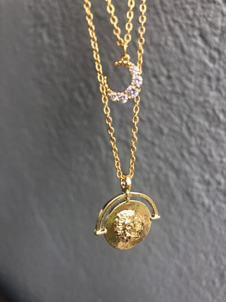 Layering Chain Necklaces Ancient Greek Gold Coin Necklace Set of 2 Layered Necklaces Half Moon Cubic Zirconia Necklace Medallion Jewelry