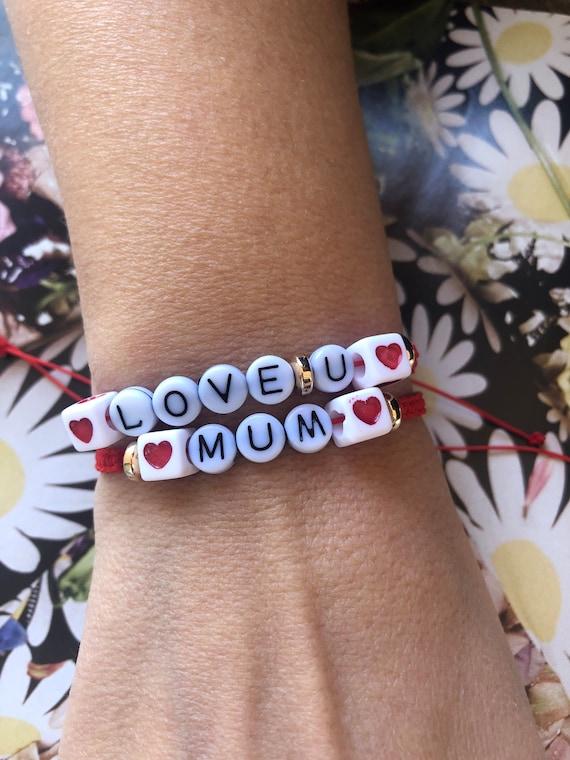 Personalised Red String Jewel Heart Bracelet Love U Mum Bracelet March Bracelet Xmas Gift For Mom Letter Bracelet Greek Spring Martaki