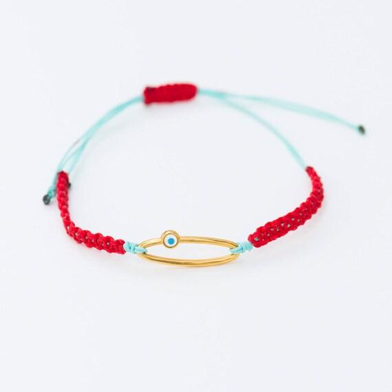 Evil Eye Spring Bracelet Minimalist Shell Bracelet Red/&White Martis Bracelet Martaki Gift Greek Good Luck Braid Bracelet March Bracelet