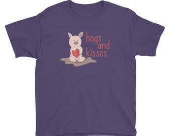 21f7c9a4 Kids Valentines Day Shirt, Hogs And Kisses T-Shirt, Cute Pig With Heart Tee,  Valentine Youth Shirt, Adorable Valentine's Day Shirt
