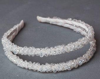 438af8cb Bridal thin headband Double band tiara White clear beaded headband Baroque  dolce Flower girl baby Wedding crystal tiara jeweled headband