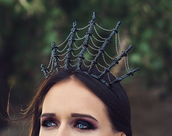 Apparel Accessories Honey Black Queen Vintage Gothic Spider Web Tiara Rhinestones Hair Hoop Halloween Party Masquerade Cosplay Accessory