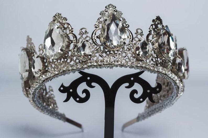 Renaissance crown Custom rhinestone color Crystal bridal tiara Wedding Queen crown Silver tiara Baroque headpiece Burning man accessory