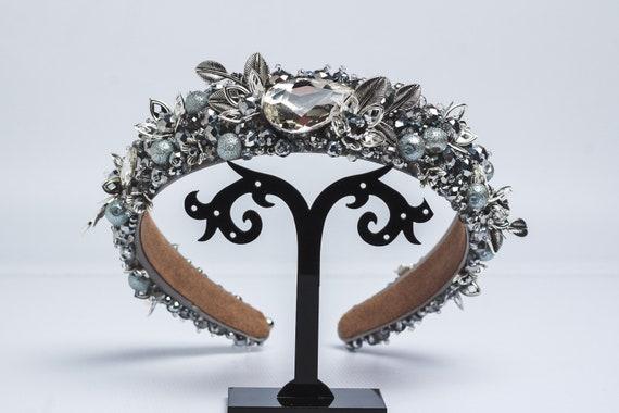 Black gold headband jeweled crown baroque headpiece bridal beaded headband dolce gotic wedding tiara crystal rhinestone headband women adult