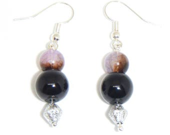 Purple and Black Drop Earrings