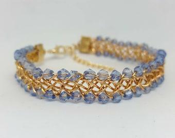 Blue and Gold Wirework bracelet