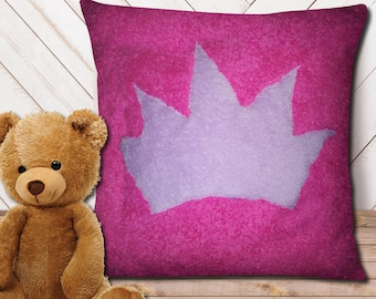 "Pillow cover 16"" x 16"" - soft pink and purple, little princesse, queen, decorative pillow, recycled fabric"