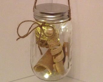 Lighted hanging decorative glass jar