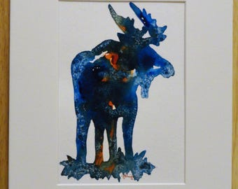 Original Painting, Moose, Acrylic Painting, Abstract, Canadian, Wildlife