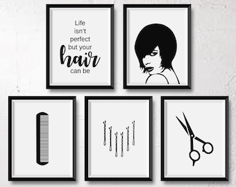 Salon art etsy set of 5 hair prints salon decor hair salon salon wall art hair stylist hairdresser hair salon prints hair salon decor hair print malvernweather Choice Image