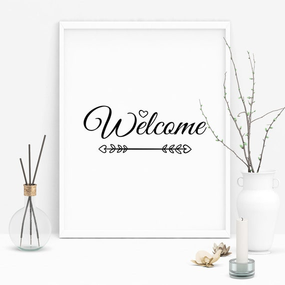 Welcome Wall Art Welcome Sign Welcome Poster Welcome Wall | Etsy