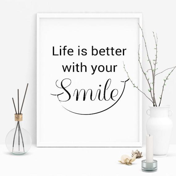 Smile Quotes Smile Printable Smile Wall Art Smile Wall Etsy