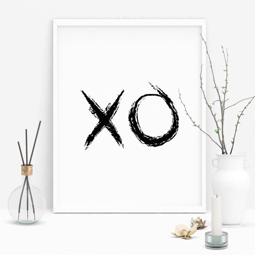 Xo prints xo wall art xo wall decor xo poster love print love wall art hugs and kisses printable art xo sign modern print art