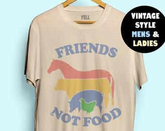 Friends Not Food T-shirt Vintage Tshirt Tee Gift for Vegan Shirt Vegetarian Natural Cute Tops Hippie 70s 80s 90s Hipster Gardening Foodie Au