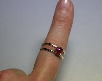 Dragons breath fire opal czech glass set in solid 925 sterling silver adjustable double band