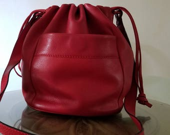 Bottega Veneta Handbag, Red Handbag, Bottega Veneta Purse, Bottega Veneta  bag, Red Purse, Bucket Bag, Designer Handbag, Vintage Bag a793043a3f
