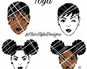 Toya Bundle-Afrocentric Svg cutting file, Natural Hair Svg, Natural, Afro svg, afro puff Svg , African SVG File, Black Woman Svg Black girl