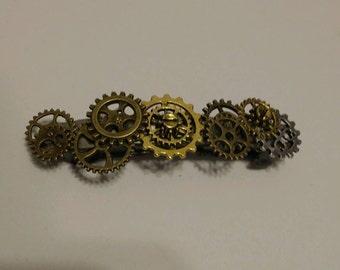 Steampunk gear barrette