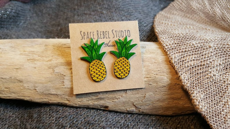 5934bfe2b Tropical Pineapple Stud Earrings Rockabilly Large Pin Up | Etsy