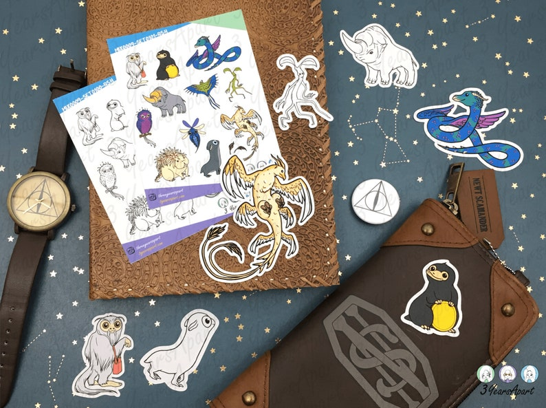 Magical Fantasy Beasts Stickers & Die Cut Flakes  Hand Drawn image 0