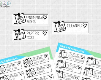 KonMari Declutter Stickers   Functional Cleaning Tidy Reminder Sticker Sheets for Bullet Journals, Planners, Traveler's Notebook, Diary