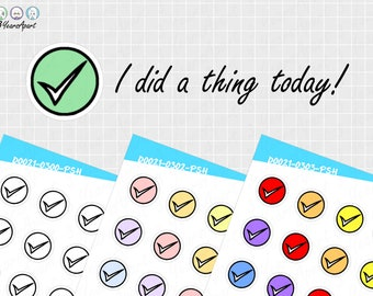Doodle To Do Checkmark Stickers   Custom Coloring Checkmark Deco Stickers for Bullet Journals, Planners, Traveler's Notebook, Diary