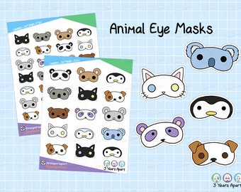 Animal Eye Mask Stickers   Cute Kawaii Self Care Sleeping Nap Deco Sticker Sheets for Bullet Journals, Planners, Traveler's Notebook, Diary