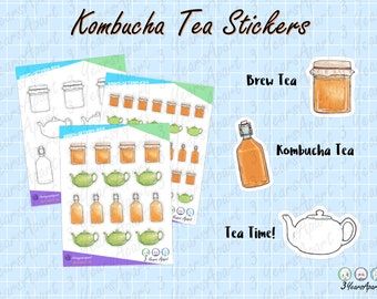 Kombucha Tea Tracking Stickers   Functional Brewing Tea Time Deco Sticker Sheets for Bullet Journals, Planners, Traveler's Notebook, Diary