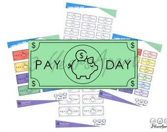 Payday Reminder Stickers   Functional Budget Money Deco Sticker Sheets for Bullet Journals, Planners, Traveler's Notebook, Diary
