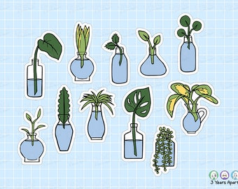 Plant Propagate Stickers   Aloe Succulent Cactus Leaves Functional Deco Sheets for Bullet Journals, Planners, Traveler's Notebook, Diary