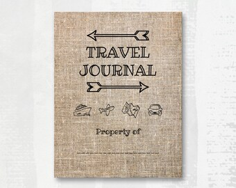travel journal cover page to personalize with name add on etsy