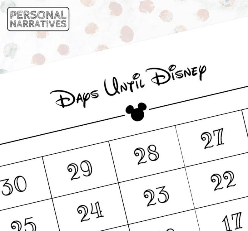 photograph about Disney Countdown Calendar Printable identified as Times Till Disney Countdown in direction of Disney Disney Countdown 30 Working day Countdown Disney Magazine Printable Keepsake Electronic