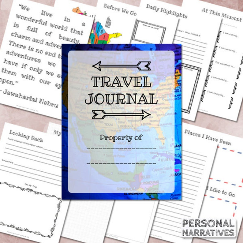 Kids Travel Journal Family Travel Printable Vacation Journal  5f0b8a61d