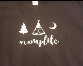 8aaa896e4f Happy Camper Camp Life Camping New Various Sizes and Colors Available Adult Shirt  Tshirt #camplife love Camping Campfire Tent trees Moon