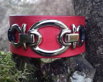 Leather Bracelet leather Red